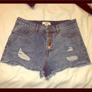 Hi Waist Distressed Denim Shorts